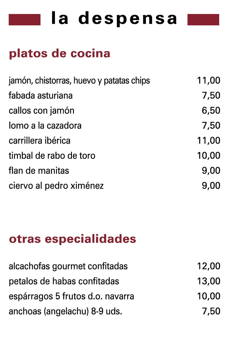 Platos de Cocinas y otras especialidades