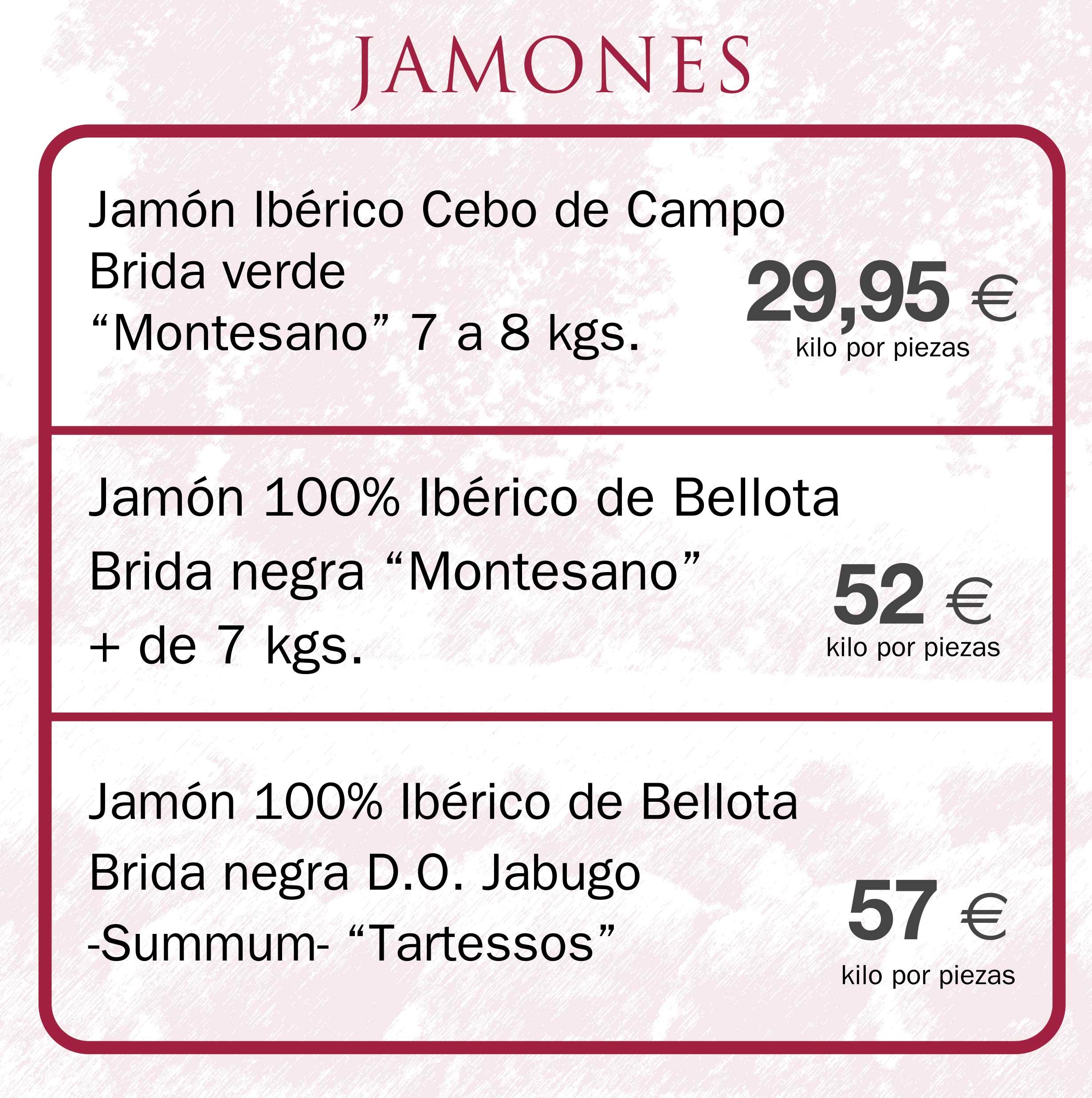Jamones de bellota ibéricos en Aracena